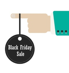 Hand holding label of black friday vector