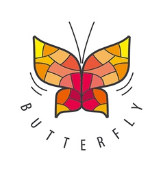 Logo butterfly patterns of red vector