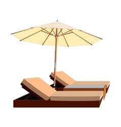 Awning umbrella lounger leisure chaise vector