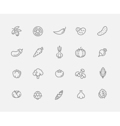 Vegetables outline icons vector