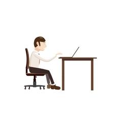 Businessman working on laptop icon cartoon style vector