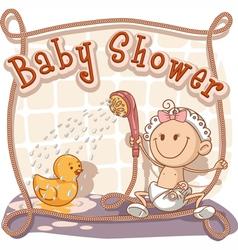 Baby Shower Cartoon Invitation vector image vector image