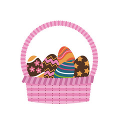 Basket egg easter celebration ornament vector