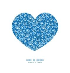 Blue white lineart plants heart silhouette vector