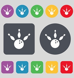 bowling icon sign A set of 12 colored buttons Flat vector image