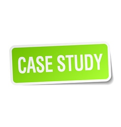 Case study green square sticker on white vector