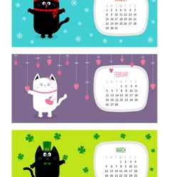 Cat horizontal calendar 2017 Cute funny cartoon vector image