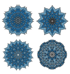 Circular patterns of blue star shaped flowers vector