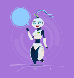 cute female robot with chat bubble happy smiling vector image