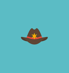 flat icon sheriff hat element vector image vector image