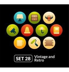 Flat icons set 28 - vintage collection vector