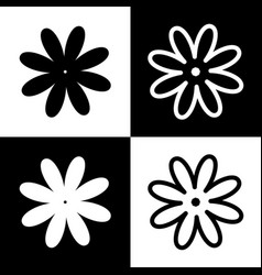 Flower sign black and white vector