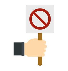 Hand holding stop sign icon isolated vector