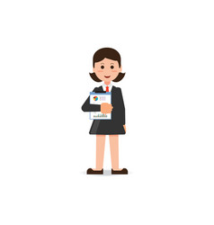 happy business woman in suit standing with vector image vector image