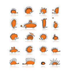 hedgehog collection sketch for your design vector image