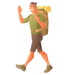 Hiking backpacker waving hand vector