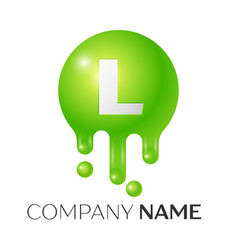 l letter splash green dots and bubbles letter vector image