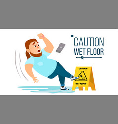 Man slips on wet floor modern businessman vector