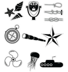 Nautical elements 2 sticker style vector image