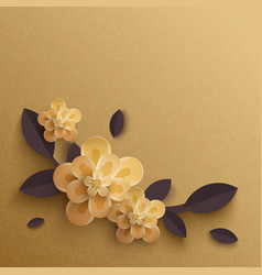Paper flowers on a gold background vector