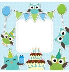 Party owls blue card vector image