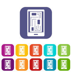 Phone innards icons set flat vector