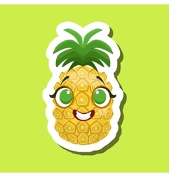 Pineapple smiling happily cute emoji sticker on vector