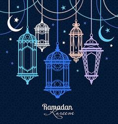 Ramadan Kareem Islamic background lamps for vector image vector image