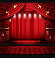 Red stage curtain with seats and spotlights vector