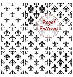 Royal fleur-de-lis floral seamless patterns vector