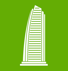 skyscraper icon green vector image