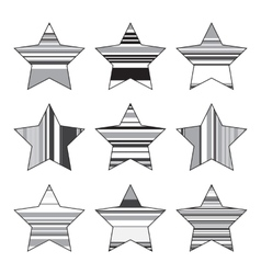 Striped black and white star icon set vector
