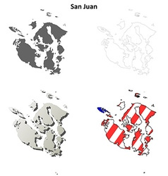 San juan map icon set vector