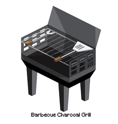 Isometric barbecue charcoal grill vector