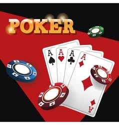 Cards of poker and chips design vector