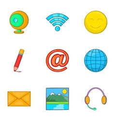 Internet icons set cartoon style vector