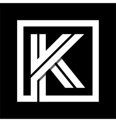 Capital letter k from white stripe enclosed in a vector