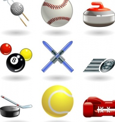 shiny sports icon set series vector image