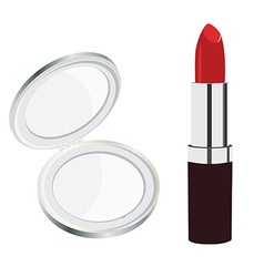 Mirror and lipstick vector