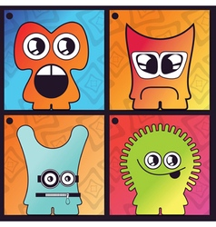 Set of four monster on abstract background vector