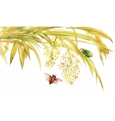Watercolor bamboo with bugs and flies vector image