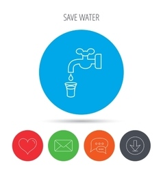 Save water icon crane with drop sign vector