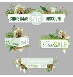 Christmas sale banners labels and tags vector