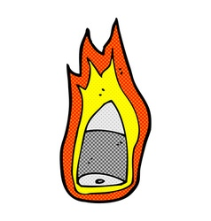 Comic cartoon flaming bullet vector