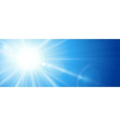 Blue sky with sun lens flare vector