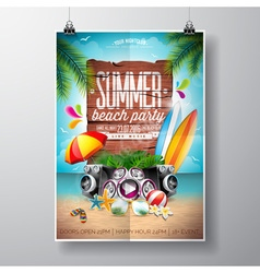 Summer nature floral elements surf board vector
