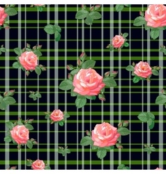 Pattern with roses and stripes vector