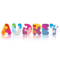 Audrey written with alphabet puzzle vector