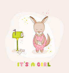 Baby girl kangaroo with mail - baby shower card vector