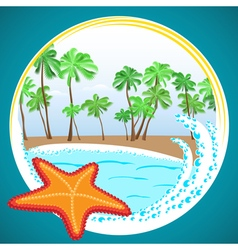 beautiful ocean beach and starfish vector image vector image